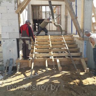 строительство лестниц из бетона для частного дома, фото