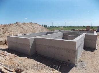монолитный фундамент, фото
